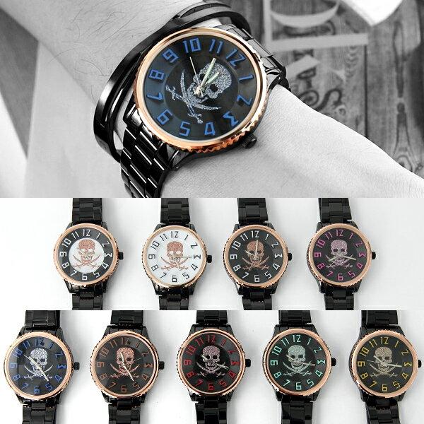 手錶 經典骷髏數字腕錶 立體數字 不鏽鋼鐵錶 柒彩年代【NE1995】單支