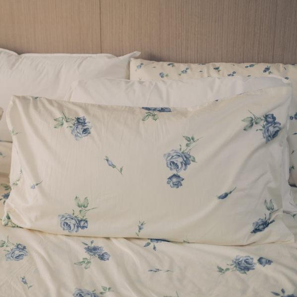 枕頭套一入-  恬靜水芙藍-大花  100%精梳棉  碎花 田園  SGS檢驗通過  45