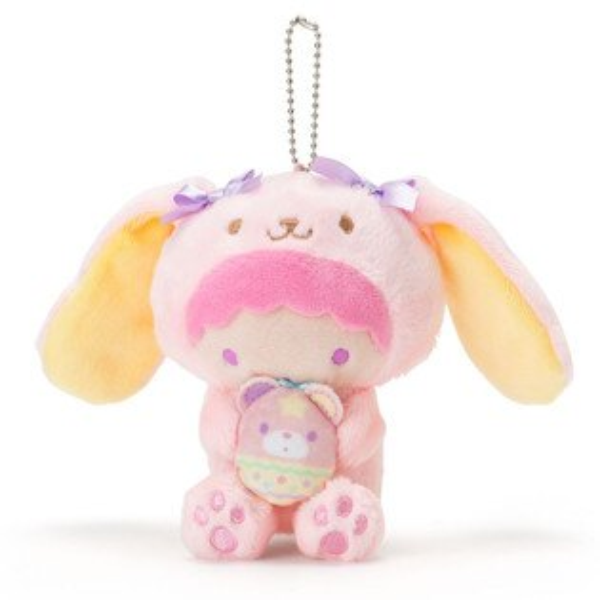 X射線【C378045】雙子星LALA造型玩偶吊鍊-長耳兔,絨毛填充玩偶玩具公仔鑰匙圈吊飾玩偶包包吊飾