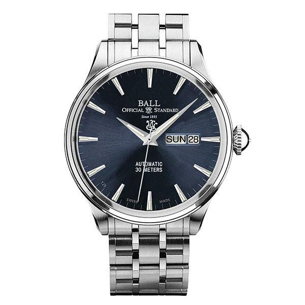 BALL 波爾錶 NM2080D-SJ-BE Trainmaster質感髮絲紋面機械腕錶/藍面40mm