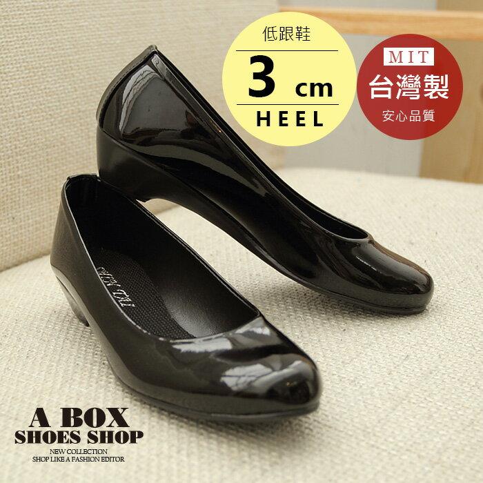 【ADP518】素面皮革霧面漆皮小坡跟包鞋娃娃鞋 低跟鞋 OL 上班族 台灣製 2色