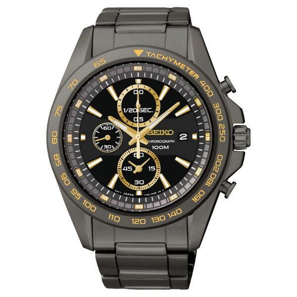 Seiko Spirit 7T92-0RK0K(SNDF79P1)酷黑耀黃計時腕錶/黑面44mm