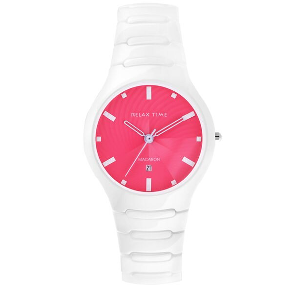 Relax Time RT-26-5馬卡龍桃紅白陶瓷腕錶/桃紅面36.6mm