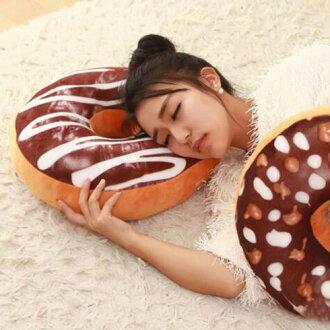 【葉子小舖】仿真甜甜圈抱枕/食物抱枕/靠墊/屁墊/坐墊/午睡枕/趴睡枕/巧克力/草莓/糖霜面包/牛角麵包/可頌麵包