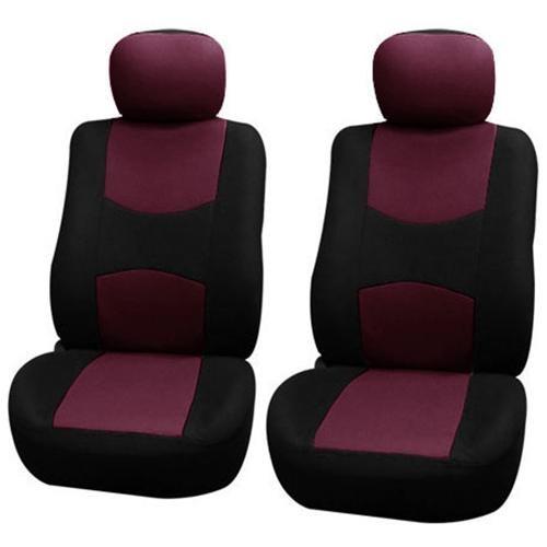 FH-FB050115 Flat Cloth Car Seat Covers Burgundy / Black 1
