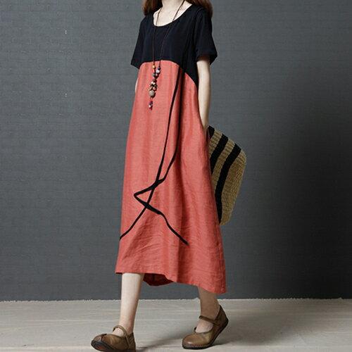 *ORead*棉麻撞色圓領連身裙(2色M~2XL) 1