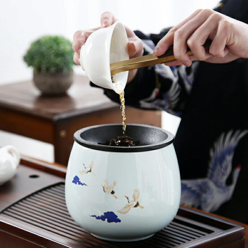 遠舍日式建水陶瓷手繪禪意茶渣缸大號水盂茶具配件水洗帶蓋家用