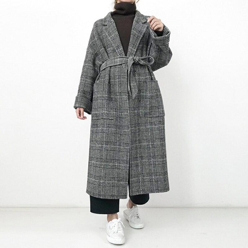 毛呢大衣羊毛外套-長版格紋繫帶翻領女外套73wb12【獨家進口】【米蘭精品】 0
