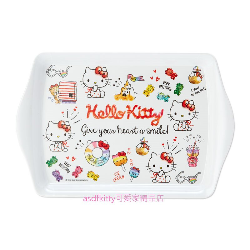 asdfkitty可愛家☆KITTY夏天迷你長方型置物盤/托盤/點心盤/水果盤-日本正版商品