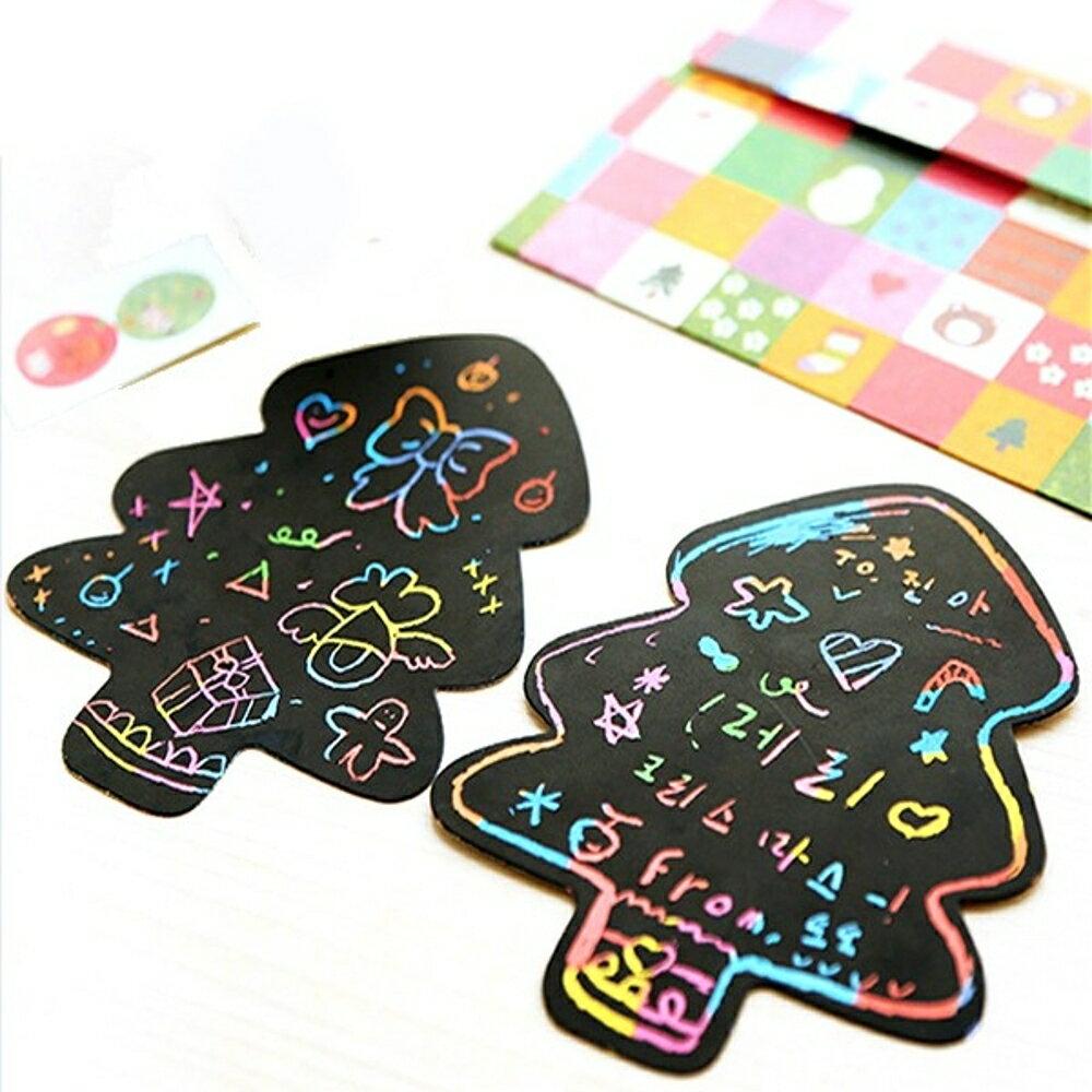 聖誕節雪人愛心圖案彩色手作聖誕卡片/DIY刮畫信封組(附貼紙)【BlueCat】【XM0008】