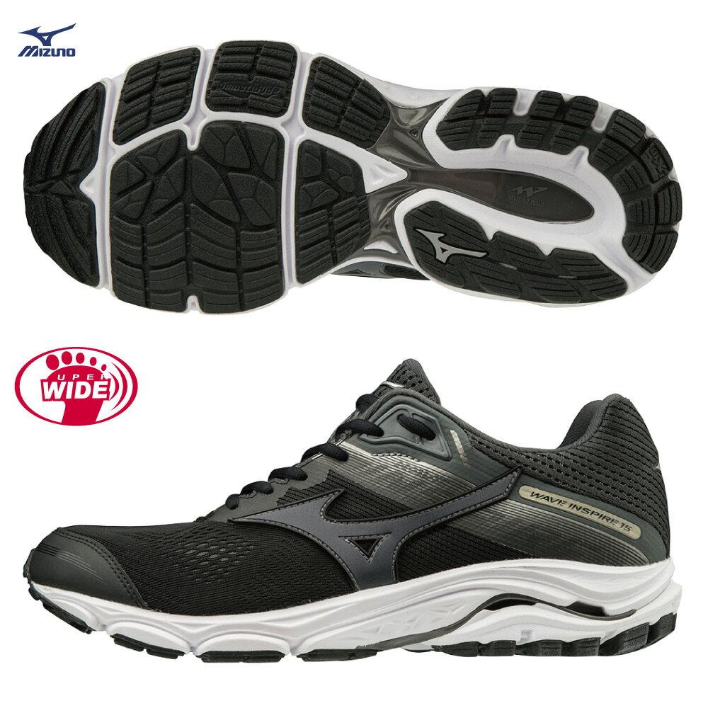 WAVE INSPIRE 15 支撐型超寬楦男慢跑鞋 J1GC194551(黑)【美津濃MIZUNO】 0