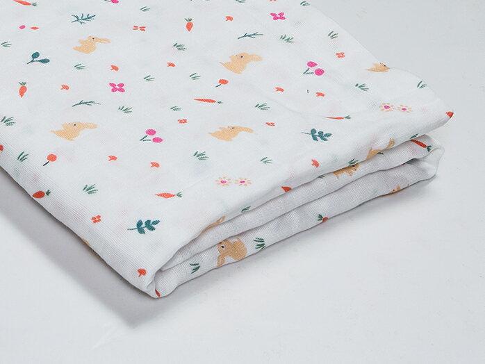 Organic B|有機棉包巾-午後小野兔 120x120cm 有機比比 Unicorn
