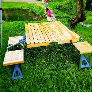 美麗大街【106102432】露營便攜式木材桌椅套組摺疊免組裝(不含傘)