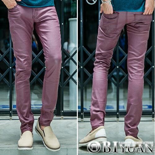 韓國製皮褲【BKR8035】OBI YUAN韓國布料訂製專櫃品質窄版剪裁質感彈性休閒褲