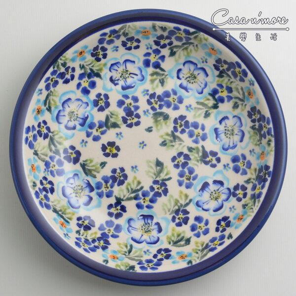 波蘭陶青藍夏日系列圓形深餐盤陶瓷盤菜盤水果盤圓盤深盤22cm波蘭手工製
