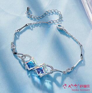 SAYAKA 日本飾品專賣:手鍊SWAROVSKI方塊晶鑽手鍊
