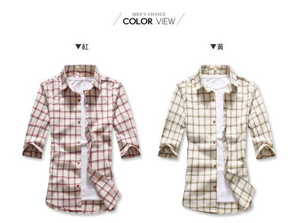 ☆BOY-2☆ 【NAA219】簡約雅痞休閒雙色細條紋格子素面七分袖襯衫 1