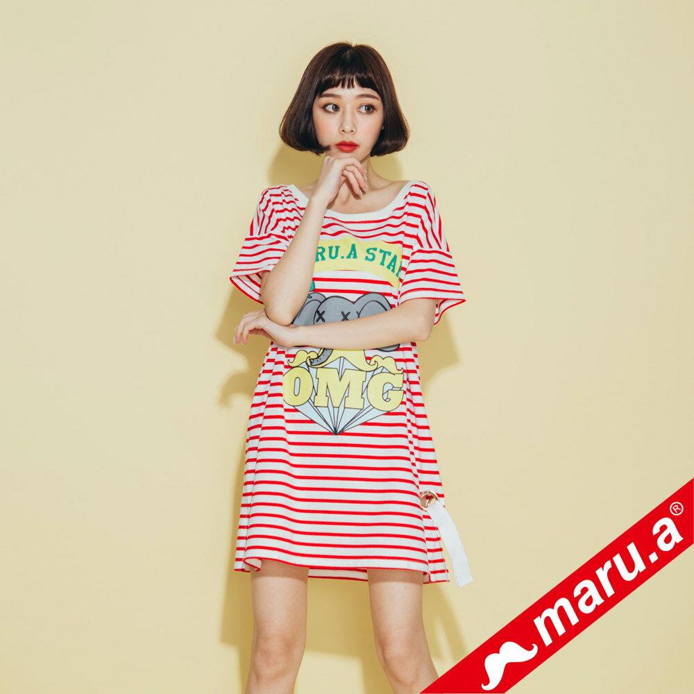 【maru.a】小飛象OMG條紋長版T-Shirt(2色)8321318 4