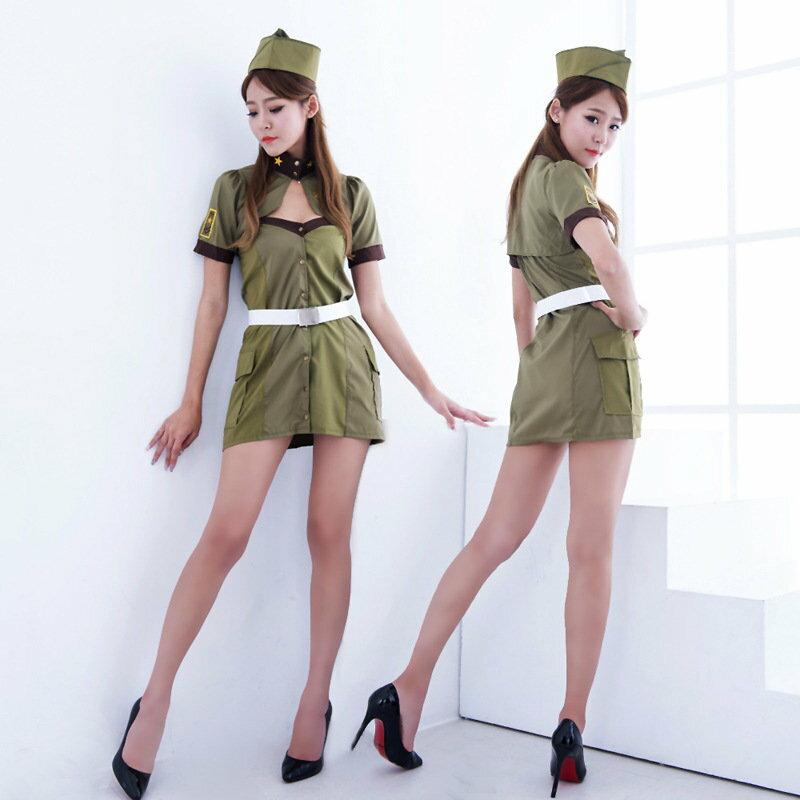 新款情趣內衣角色扮演CSPLAY女兵綠色軍裝制服 全套裝 5021