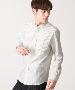 府綢襯衫直條紋白