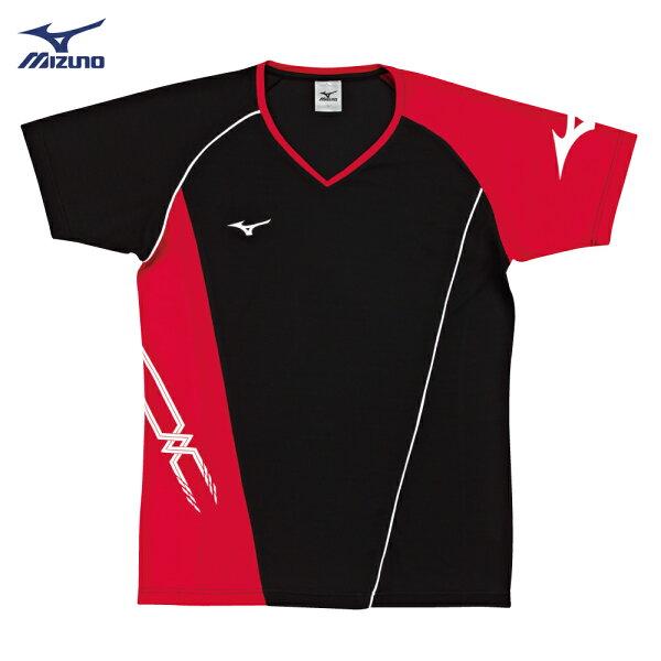 V2TA7G2496(黑X紅)男女通款吸汗快乾、抗紫外線SlimFIT合身版型排球上衣(【美津濃MIZUNO】