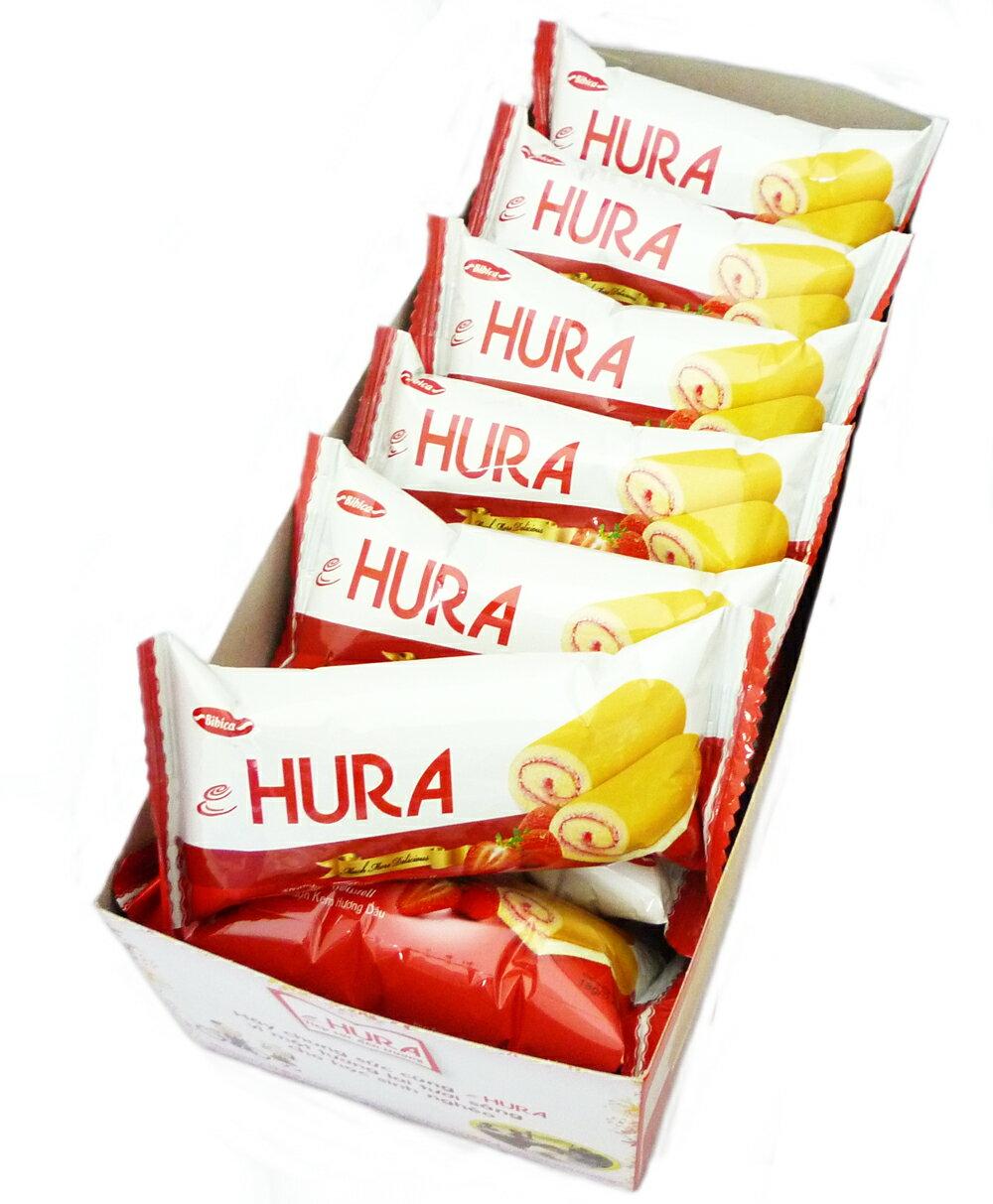 【草莓季、巧克力8折起】HURA 迷你瑞士捲(草莓味) 360g整盒