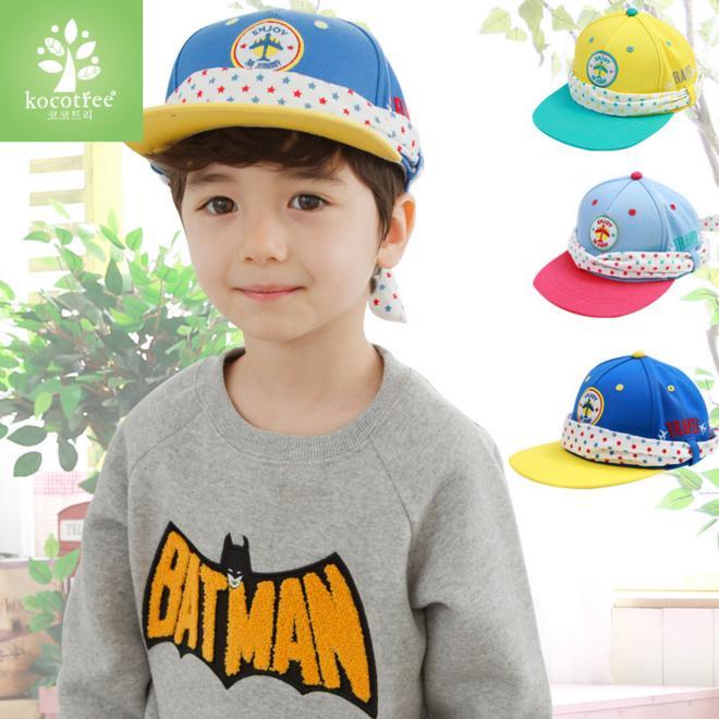 WallFree窩自在★時尚活力百搭質感飛機刺繡星星綁帶兒童造型休閒鴨舌帽
