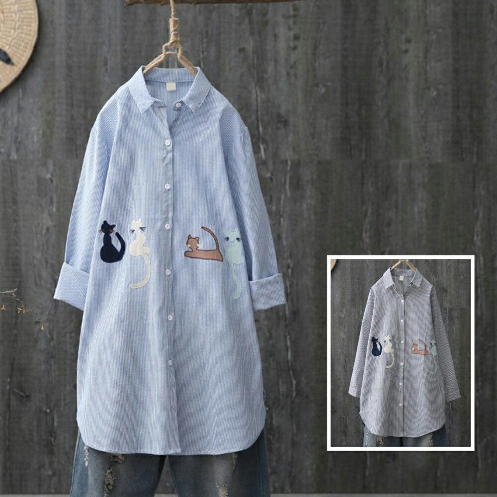 中長款卡通貓咪刺繡條紋長袖襯衫(2色XL~4XL)【OREAD】 1