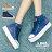 格子舖*【AAF98】個性基本款刷破牛仔布星星 壓印皮標 高筒綁帶3.5CM厚底帆布鞋 2色 0