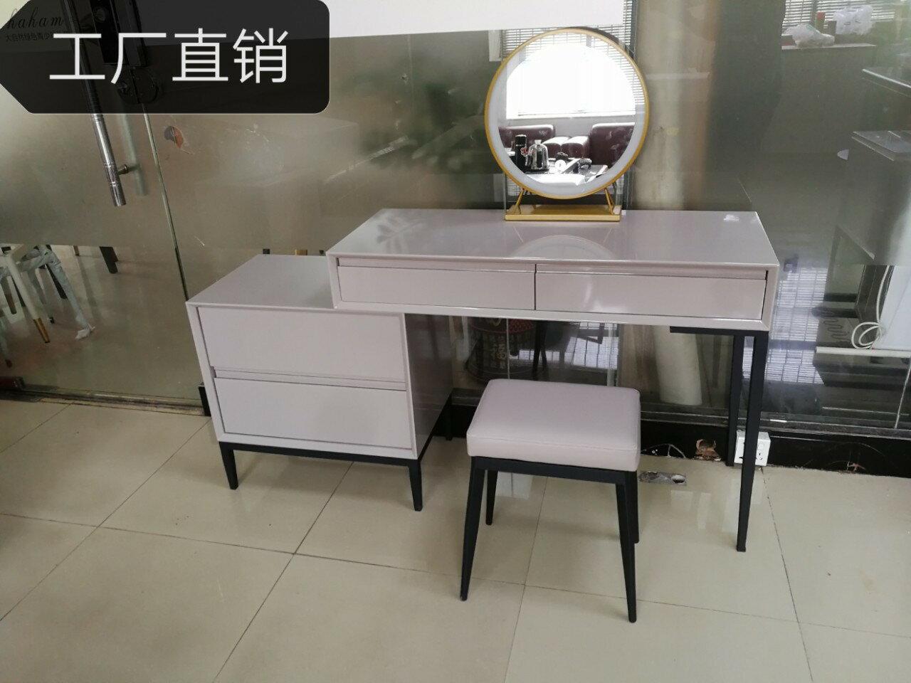 梳妝臺現代簡約臥室小型床邊意式高檔白色網紅化妝桌收納柜一體