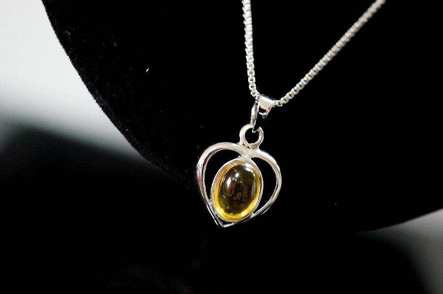 【喨喨飾品】黃色水晶墜鍊 純銀飾品 S334