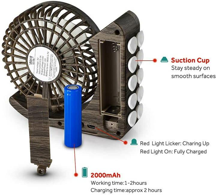 GeeRic【日本代購】台式風扇USB充電風扇 安靜 四級調節-深木紋