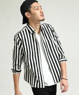 日本製長袖襯衫粗直條紋BLACK