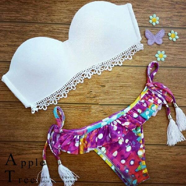 AT日韓-巴西性感款,胸下蕾絲花流蘇綁繩兩件套比基尼泳裝2色【804026】