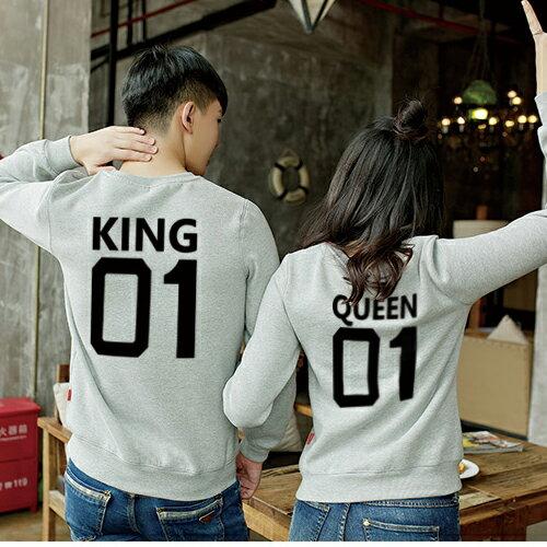 ◆快速出貨◆刷毛T恤 圓領刷毛 情侶T恤 暖暖刷毛 MIT台灣製.背後KING QUEEN 01【YS0392】可單買.艾咪E舖 2