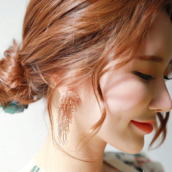 PS Mall 歐美復古手工串珠花朵流蘇大耳環 煙花透明水晶誇張耳飾度假風【G073】