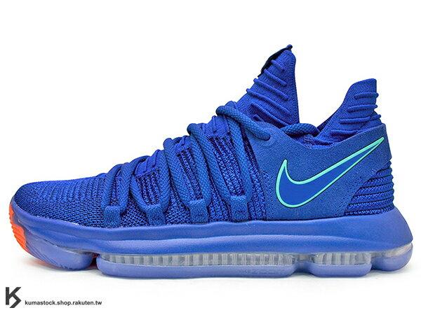 KUMASTOCK:2018NBA總冠軍MVP強力戰靴NIKEZOOMKD10EP寶藍深藍藍紅唐人街FLYKNIT襪套包覆鞋面AIR全腳掌氣墊KD535X總冠軍金州勇士隊(897816-402)0118
