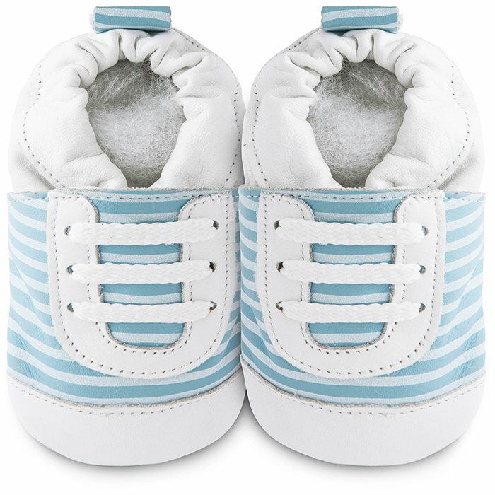 【hella 媽咪寶貝】英國 shooshoos 健康無毒真皮手工鞋/學步鞋/嬰兒鞋 藍白斑馬紋運動型 101068