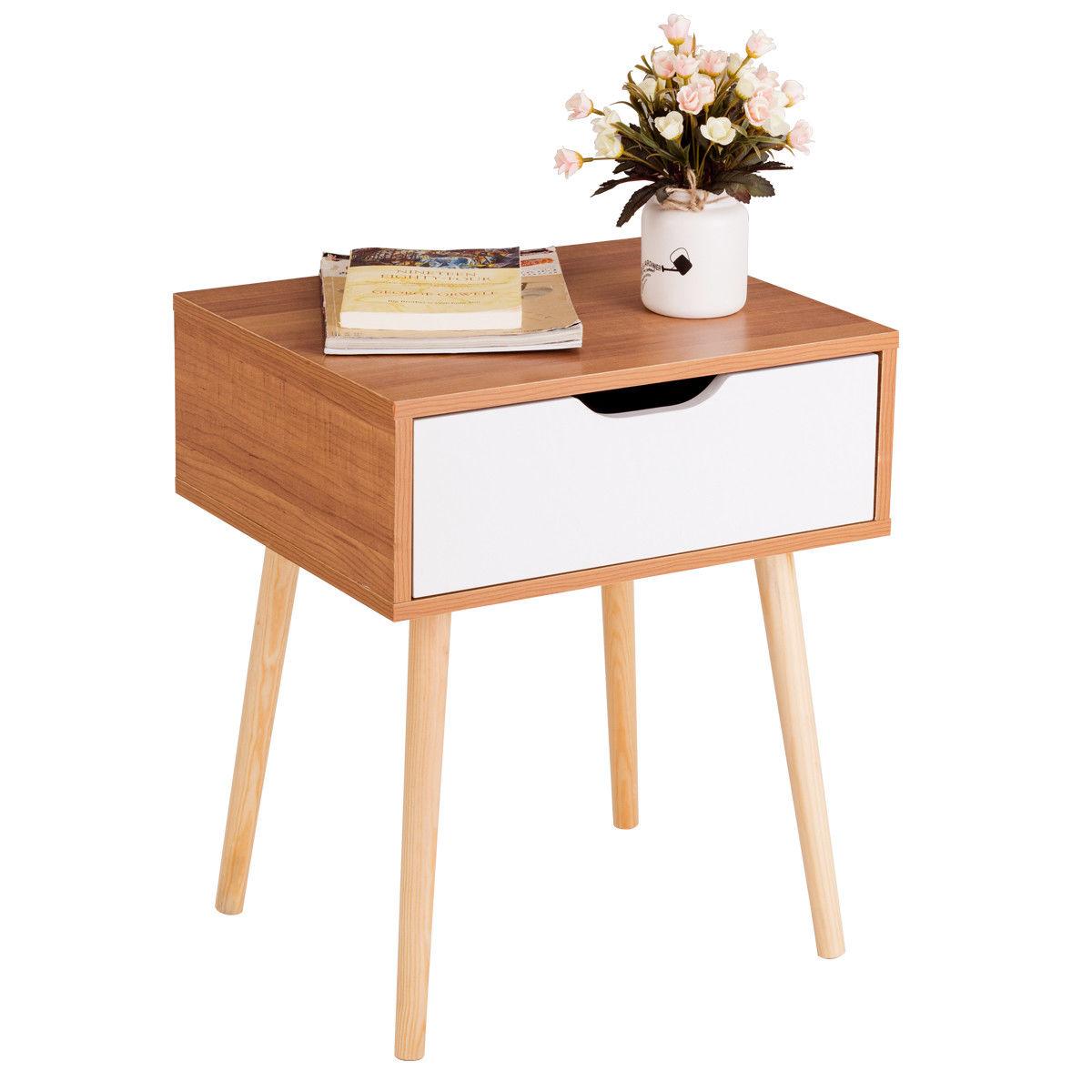 Costway Nightstand End Side Sofa Table Storage Drawer Living Room Furni W Solid Wood Leg