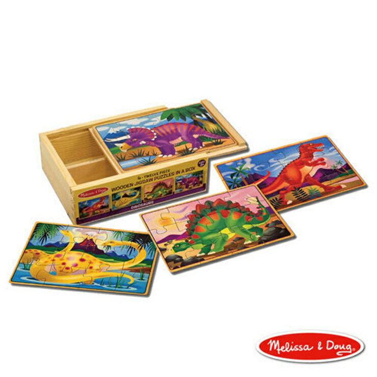 【寶貝樂園】美國瑪莉莎 Melissa & Doug 盒中木製拼圖 恐龍
