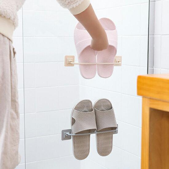 鞋架 拖鞋架 鞋托架 置物架 收納架 鞋子 壁掛架  掛架 可折疊 浴室 拖鞋 黏貼式 壁掛式 收納神器 免打孔 壁掛摺疊鞋架 ♚MY COLOR♚【L091】
