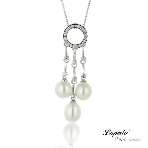 大東山珠寶絢麗光芒純銀晶鑽天然珍珠項鍊