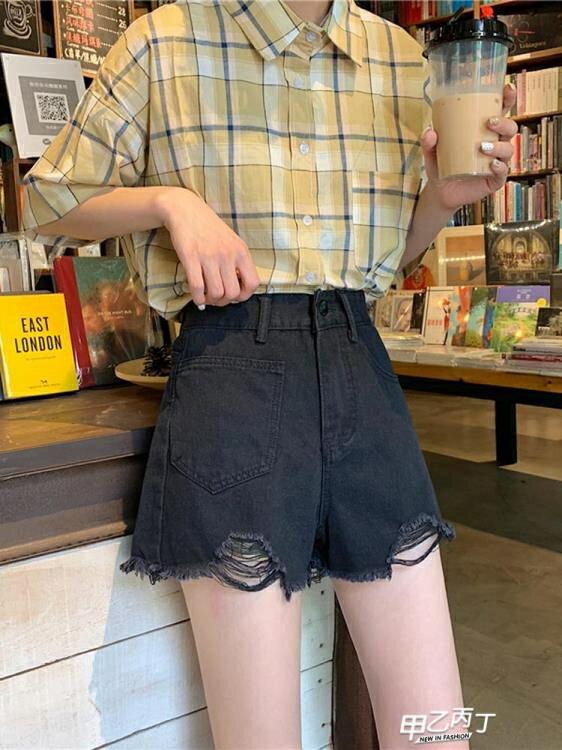 牛仔短褲 夏季年新品女裝高腰刷破牛仔褲短褲黑色直筒褲子寬鬆顯瘦熱褲【快速出貨】