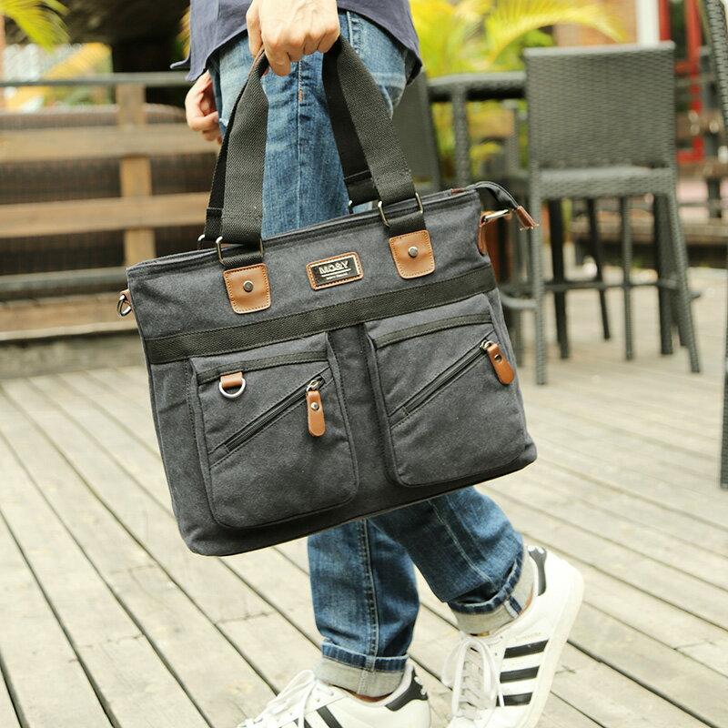 經典韓版復古男士手提包 電腦包 公事包 旅行包 休閒 側背斜揹
