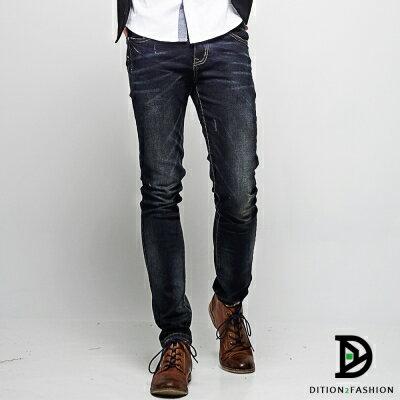 DITION 重磅刷色JEANS深色丹寧窄管牛仔褲 韓國 合身