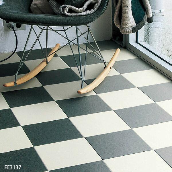 黑白方塊黑白方格地板卷材FE3137