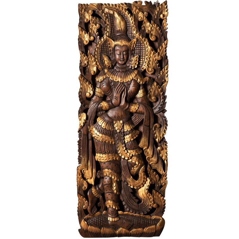 異麗家居泰國木雕玄關墻面裝飾品壁泰國美女裝飾木雕鏤空雕花板