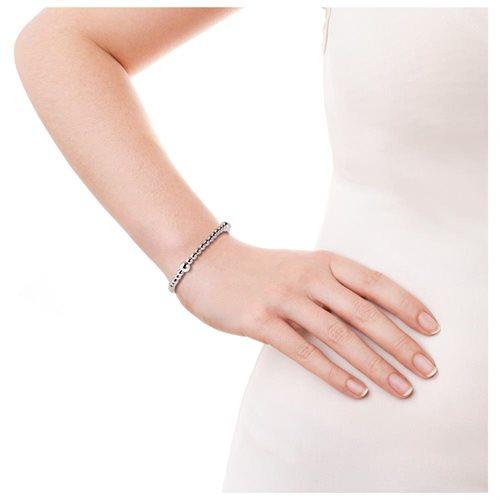 Sleek Elastic Bead Link .925 Sterling Silver Bracelet 2