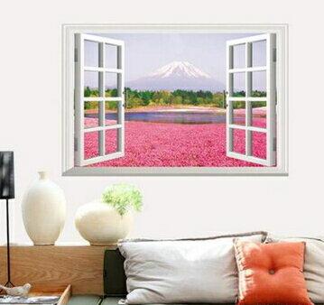 歐式假窗戶牆貼餐廳客廳溫馨浪漫臥室床頭背景裝飾田園風景~no~22966220741~