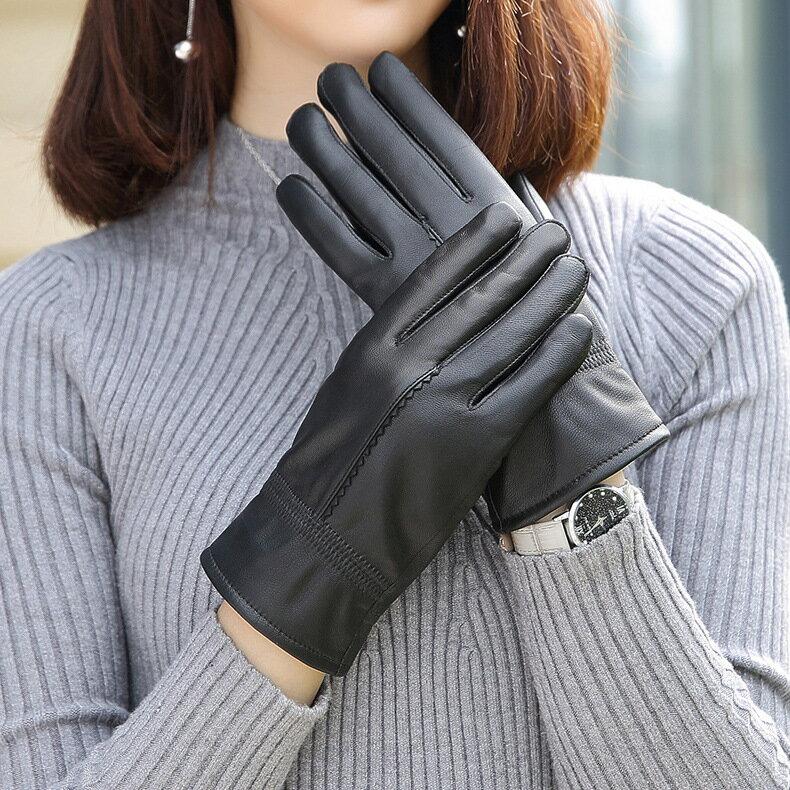 真皮手套保暖手套-黑色綿羊皮加絨百搭女手套73wm56【獨家進口】【米蘭精品】 2